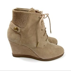 Michael Kors Carrigan Suede Lace-Up Wedge Booties